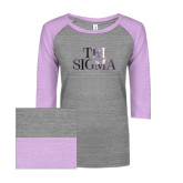 ENZA Ladies Athletic Heather/Hot Violet Vintage Baseball Tee-Tri Sigma Stacked - Official Foil
