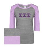 ENZA Ladies Athletic Heather/Hot Violet Vintage Baseball Tee-Glitter Greek Style Letters