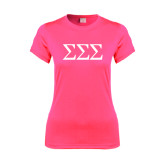 Ladies Performance Hot Pink Tee-Greek Letters - One Color