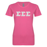 Ladies SoftStyle Junior Fitted Fuchsia Tee-Glitter Greek Style Letters