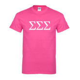 Hot Pink T Shirt-Greek Letters - One Color