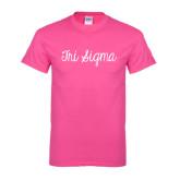 Hot Pink T Shirt-Curly Script Tri Sigma
