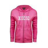 ENZA Ladies Fuchsia Fleece Full Zip Hoodie-Glitter Greek Style Letters