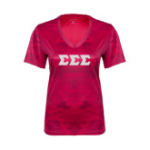 Ladies Pink Raspberry Camohex Tee-Glitter Greek Style Letters