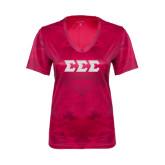Ladies Pink Raspberry Camohex Tee-Glitter Greek Style Letters