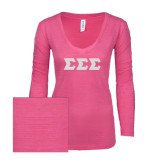 ENZA Ladies Hot Pink Long Sleeve V Neck Tee-Glitter Greek Style Letters