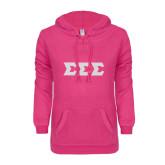 ENZA Ladies Hot Pink V Notch Raw Edge Fleece Hoodie-Glitter Greek Style Letters