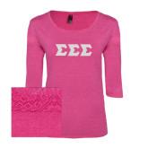 Ladies Dark Fuchsia Heather Tri Blend Lace 3/4 Sleeve Tee-Glitter Greek Style Letters