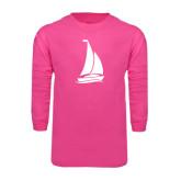 Hot Pink Long Sleeve T Shirt-Sailboat