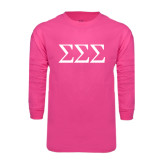 Hot Pink Long Sleeve T Shirt-Greek Letters - One Color