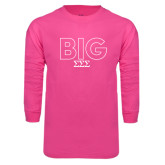 Hot Pink Long Sleeve T Shirt-Block Letters w/ Pattern Big