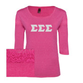 Ladies Dark Fuchsia Heather Tri Blend Lace Tee-Glitter Greek Style Letters