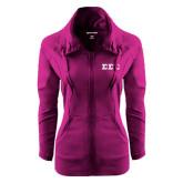 Ladies Sport Wick Stretch Full Zip Deep Berry Jacket-Glitter Greek Style Letters