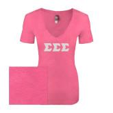 Next Level Ladies Vintage Pink Tri Blend V Neck Tee-Glitter Greek Style Letters