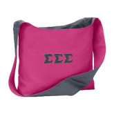 Cotton Canvas Tropical Pink/Charcoal Sling Bag-Glitter Greek Style Letters