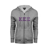 ENZA Ladies Grey Fleece Full Zip Hoodie-Glitter Greek Style Letters