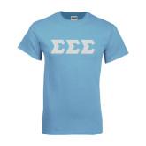 Light Blue T Shirt-Glitter Greek Style Letters