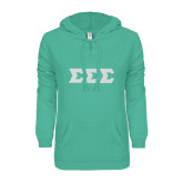 ENZA Ladies Seaglass V Notch Raw Edge Fleece Hoodie-Glitter Greek Style Letters