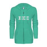 ENZA Ladies Seaglass Light Weight Fleece Full Zip Hoodie-Glitter Greek Style Letters
