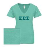 ENZA Ladies Seaglass Melange V Neck Tee-Glitter Greek Style Letters