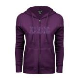 ENZA Ladies Purple Fleece Full Zip Hoodie-Glitter Greek Style Letters