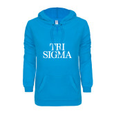 ENZA Ladies Pacific Blue V Notch Raw Edge Fleece Hoodie-Tri Sigma Stacked - Official