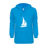 ENZA Ladies Pacific Blue V Notch Raw Edge Fleece Hoodie-Sailboat