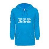 ENZA Ladies Pacific Blue V Notch Raw Edge Fleece Hoodie-Greek Style Letters - Lace