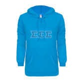 ENZA Ladies Pacific Blue V Notch Raw Edge Fleece Hoodie-Greek Style Letters - Polka Dot