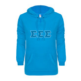 ENZA Ladies Pacific Blue V Notch Raw Edge Fleece Hoodie-Greek Style Letters