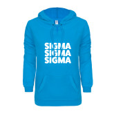 ENZA Ladies Pacific Blue V Notch Raw Edge Fleece Hoodie-Stacked Sigma Sigma Sigma