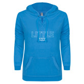 ENZA Ladies Pacific Blue V Notch Raw Edge Fleece Hoodie-Block Letters w/ Pattern Little
