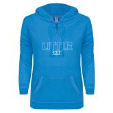 ENZA Ladies Pacific Blue V Notch Raw Edge Fleece Hoodie-Block Letters w/ Pattern Little