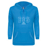 ENZA Ladies Pacific Blue V Notch Raw Edge Fleece Hoodie-Block Letters w/ Pattern Big