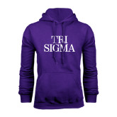 Purple Fleece Hoodie-Tri Sigma Stacked - Official
