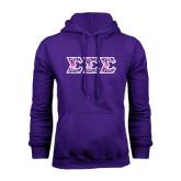 Purple Fleece Hoodie-Greek Style Letters - Tri Sigma Pattern