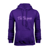 Purple Fleece Hoodie-Ink Script Tri Sigma