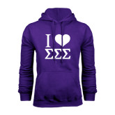 Purple Fleece Hoodie-I Heart