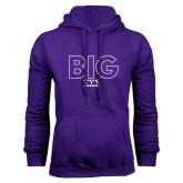 Purple Fleece Hoodie-Block Letters w/ Pattern Big