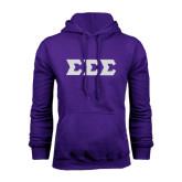 Purple Fleece Hoodie-Glitter Greek Style Letters