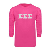 Hot Pink Long Sleeve T Shirt-Glitter Greek Style Letters