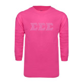 Hot Pink Long Sleeve T Shirt-Glitter Greek Style Letters