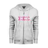ENZA Ladies White Fleece Full Zip Hoodie-Glitter Greek Style Letters