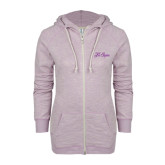 ENZA Ladies Hot Violet Marled Full Zip Hoodie-Fancy Script Tri Sigma