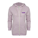 ENZA Ladies Hot Violet Marled Full Zip Hoodie-Tri Sigma Flat