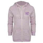 ENZA Ladies Hot Violet Marled Full Zip Hoodie-Big in Heart