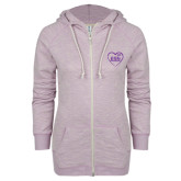 ENZA Ladies Hot Violet Marled Full Zip Hoodie-Little in Heart