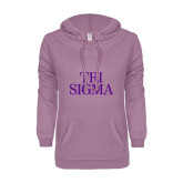 ENZA Ladies Hot Violet V Notch Raw Edge Fleece Hoodie-Tri Sigma Stacked - Official