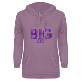 ENZA Ladies Hot Violet V Notch Raw Edge Fleece Hoodie-Block Letters w/ Pattern Big