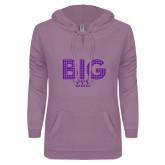 ENZA Ladies Hot Violet V Notch Raw Edge Fleece Hoodie-Block Letters w/ Pattern Big